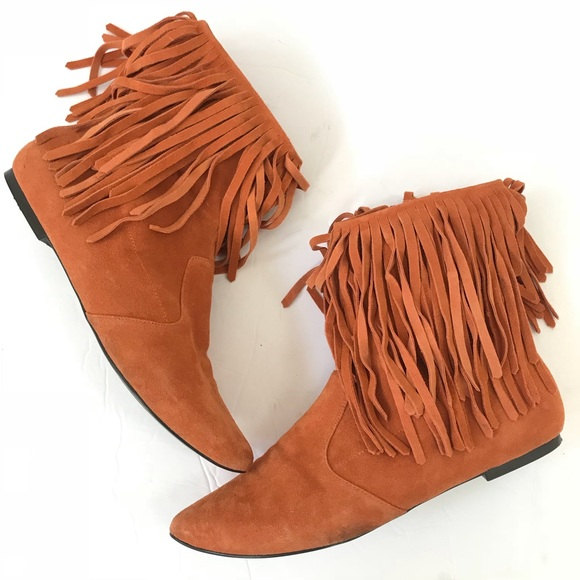bfd0f9fec68389 Sam Edelman Shoes - Sam Edelman Ursula suede fringe boots ankle orange